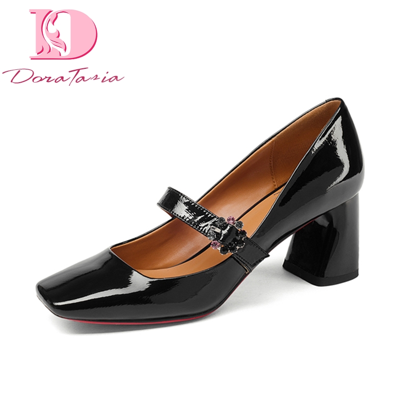 Doratasia Brand New Genuine Leather Mary Janes Square High Heels Solid Shoes Woman Casual Office Spring Pumps Big Size 33-43 doratasia 2018 spring autumn shallow women mary janes pumps big size 34 43 high wedges comfortable platform shoes woman