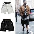 Ropa de baile de Los Hombres streetwear ropa de hip hop KANYE WEST Yeezy negro/gris pantalones de algodón de los hombres corto temor de Dios Jogger