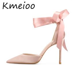 Kmeioo/Женская обувь, туфли-лодочки с ремешками на лодыжках, с острым носком, на шпильке, с ремешком на щиколотке, на высоком каблуке, на
