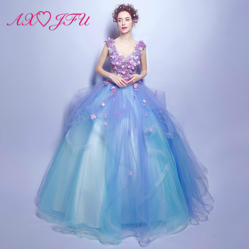 AXJFU Blue lace bride married toast Princess beding flower   evening     dress   luxury v neck ruffles   evening     dress