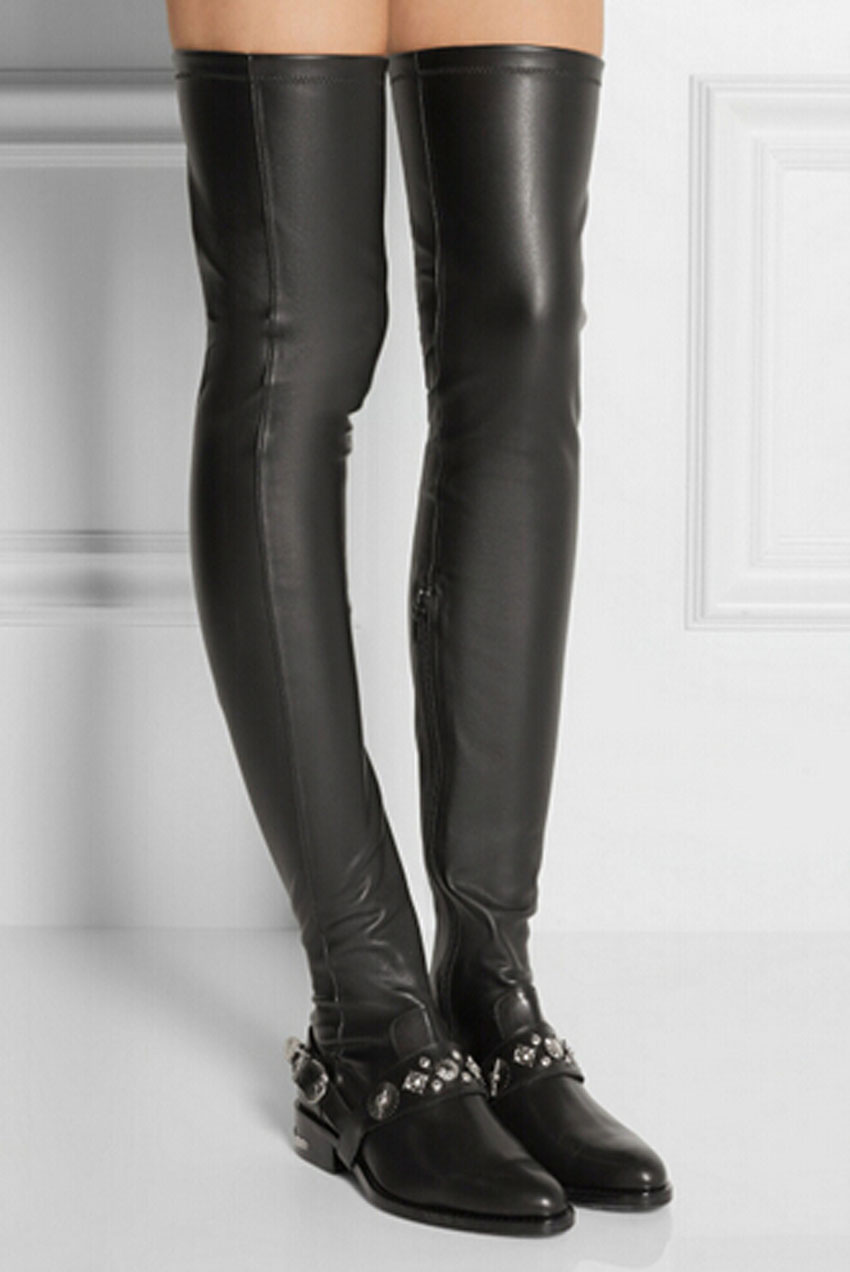 free shipping knee soft black leather flat boots