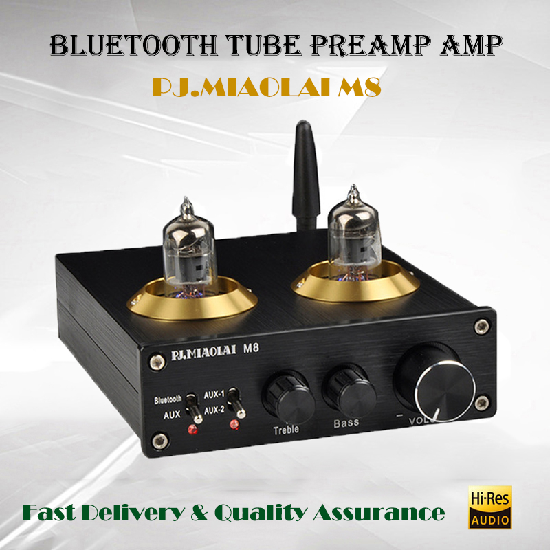 цена на PJ.MIAOLAI M8 Preamplifier Tube Amplifier Audio Home Pre amplifier Subwoofer Amplifier Bluetooth Preamp Csra64215 Tube Preamp