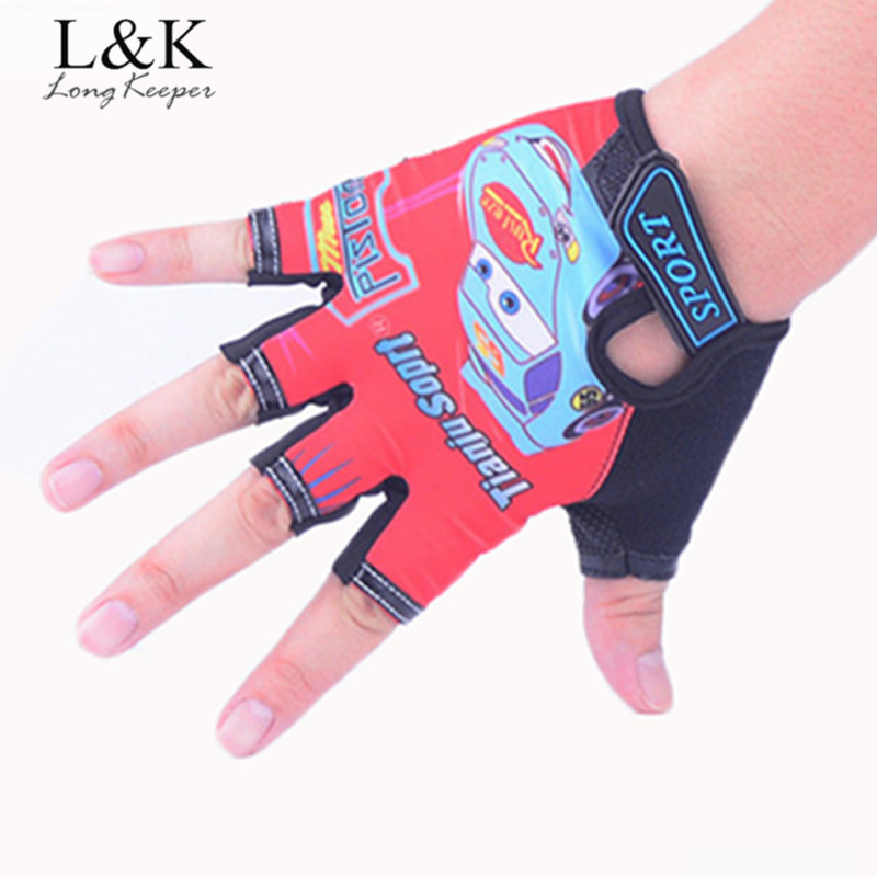Long Keeper Cute Golves For 5-13 Years Sport Gloves Adjustable Half-finger Boys Girls Gloves Work Out Guantes For Children G085