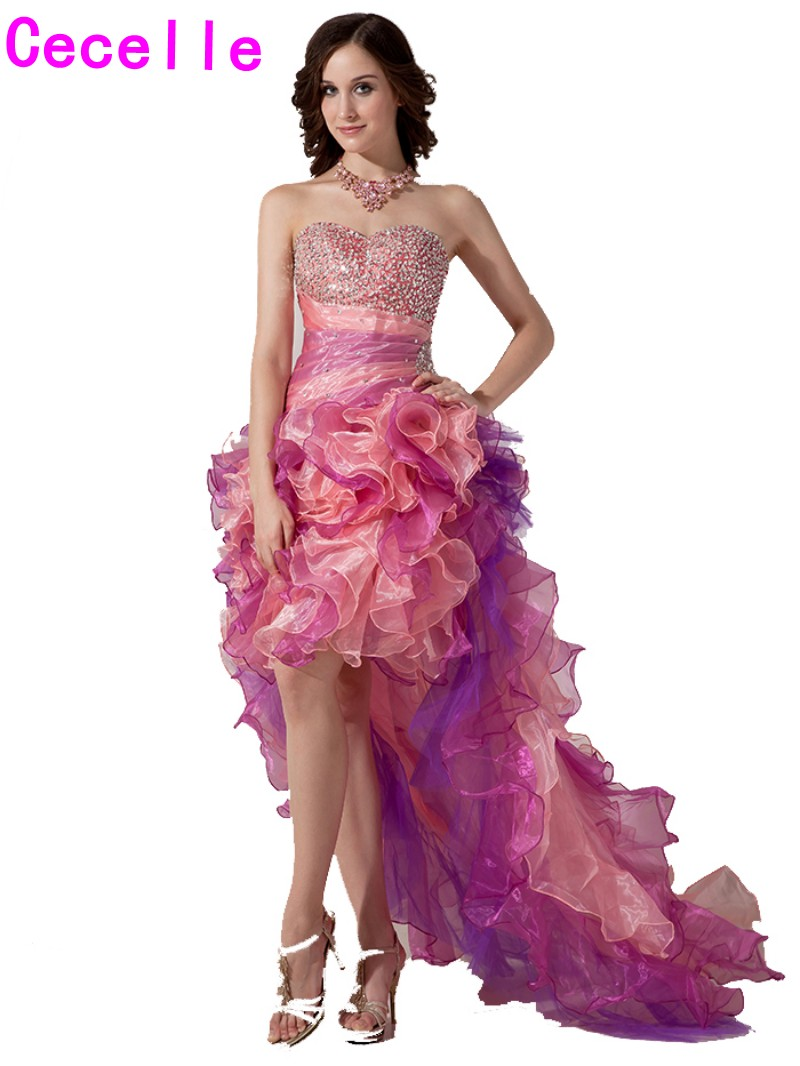 Colorful High Low Prom Cocktail Dresses Beaded Organza Ruffles Organza Juniors Cocktail Party Dress Sweetheart Robe De Cocktail