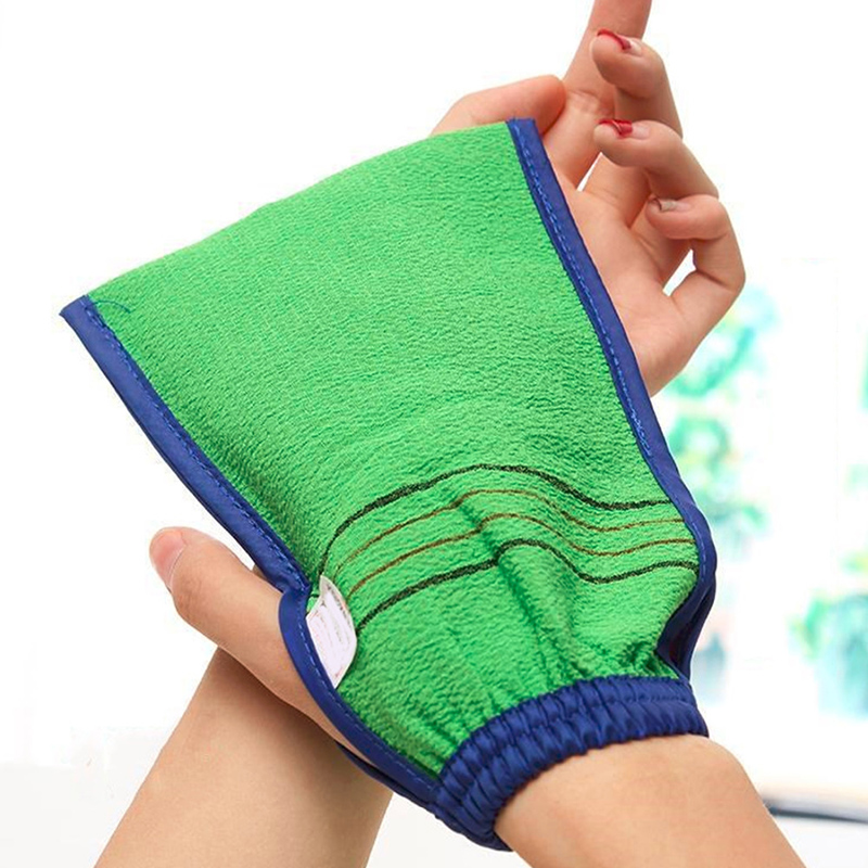 1 Piece Shower Spa Exfoliator Two-sided Bath Glove Body Cleaning Scrub Mitt Rub Dead Skin Removal Random Color
