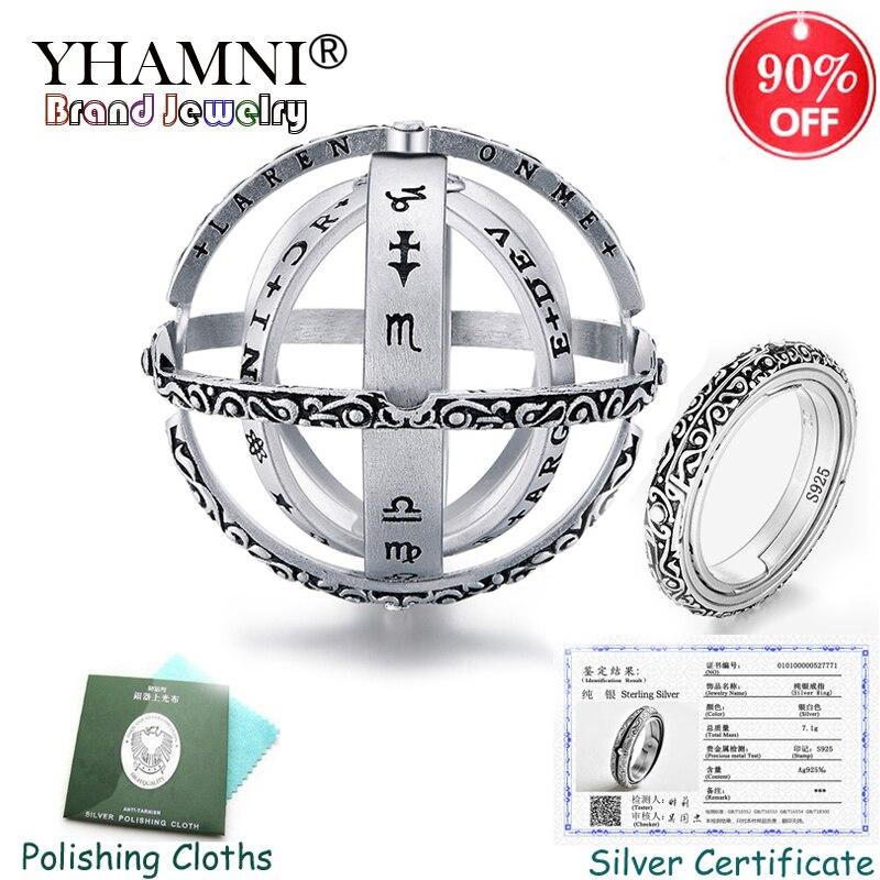 Enviado Certificado! Original novo 925 Prata Anel Anel Giratório Bola Esfera Cósmica Astronômico Anéis para Casal Presente do Amante de Jóias