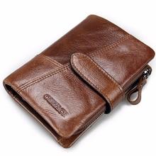 Genuine Leather Men Short Wallets Vintage Purse With Card Holder Wallet Clutch Wrist Dollar Price Purse Business Mini Wallet