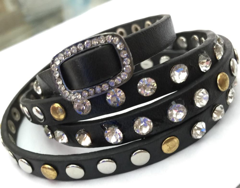 Miasol Studded Crystal a kovový nýt PU kožený náramek, více kožené náramky, náramky B1443