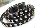 Studded Crystal and metal rivet PU leather wrap Bracelets,multi leather bracelets, wrap bracelets B1443
