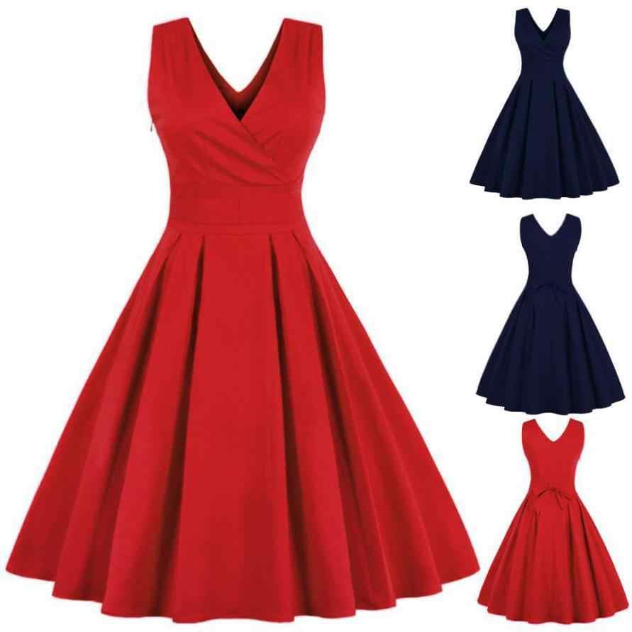 2019 nowy kobiety długa sukienka głębokie V dekolt w stylu Vintage topy Vestidos De Festa moda kobiet suknia bez rękawów Party Prom Swing sukienki