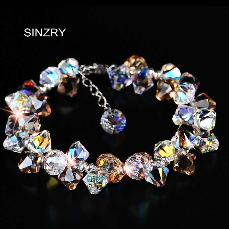 SINZRY pure handmade Luxury 925 sterling silver handmade brilliant crystal charm bracelets & bangle Girl jewellery new arrival 2018 man bracelet 8mm mens jewellery 925 handmade bracelets 21cm