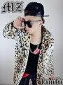 2016 ropa de abrigo trench de lana de lana de abrigo de invierno de canto en conjunción leopardo traje de cuero de imitación abrigo de piel