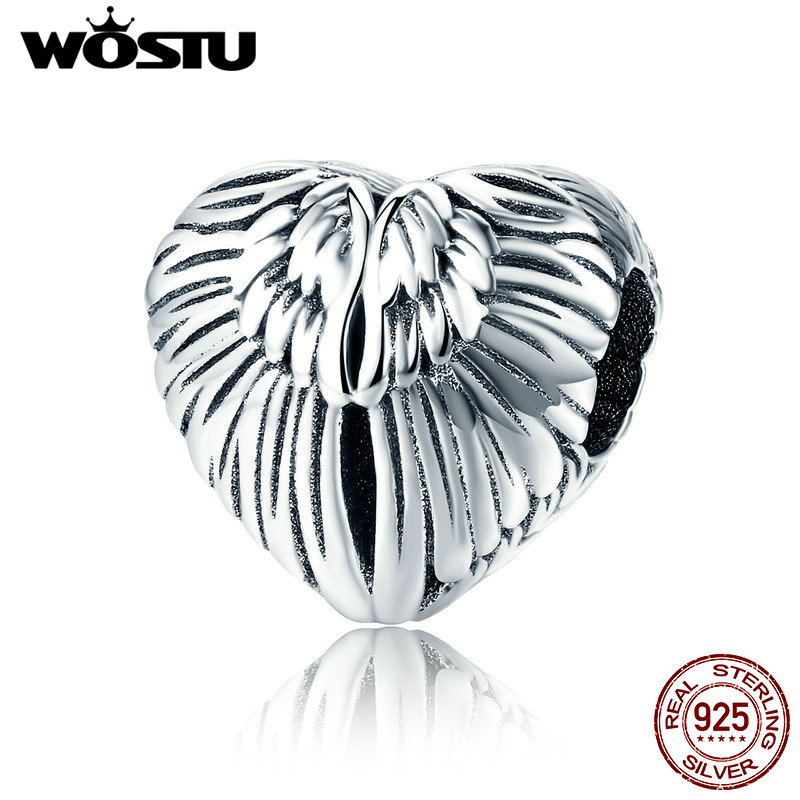 WOSTU Classic 925 Sterling Silver Angel Wings Beads Charms fit Original Women Bracelets and Necklaces Fashion Jewelry CQC780 брелок silver angel 120pcs diy 14x22mm a428 fit slide bracelets necklaces jewelry findings
