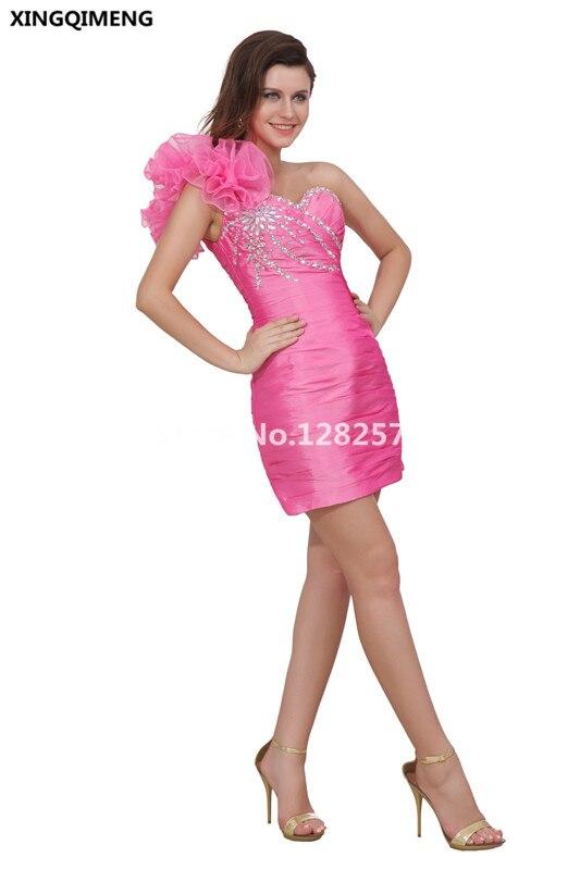 Hot Pink Cocktail Dress Cheap Elegant Cocktail Dresses Mini V Neck ...