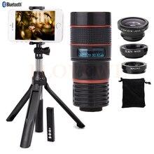 Buy online 8X Zoom Lens Telescope Telephoto Lenses Fisheye Wide Angle Macro Lentes Monopod Bluetooth Shutter For iphone 5 5s 5c SE 6 6s 7 8