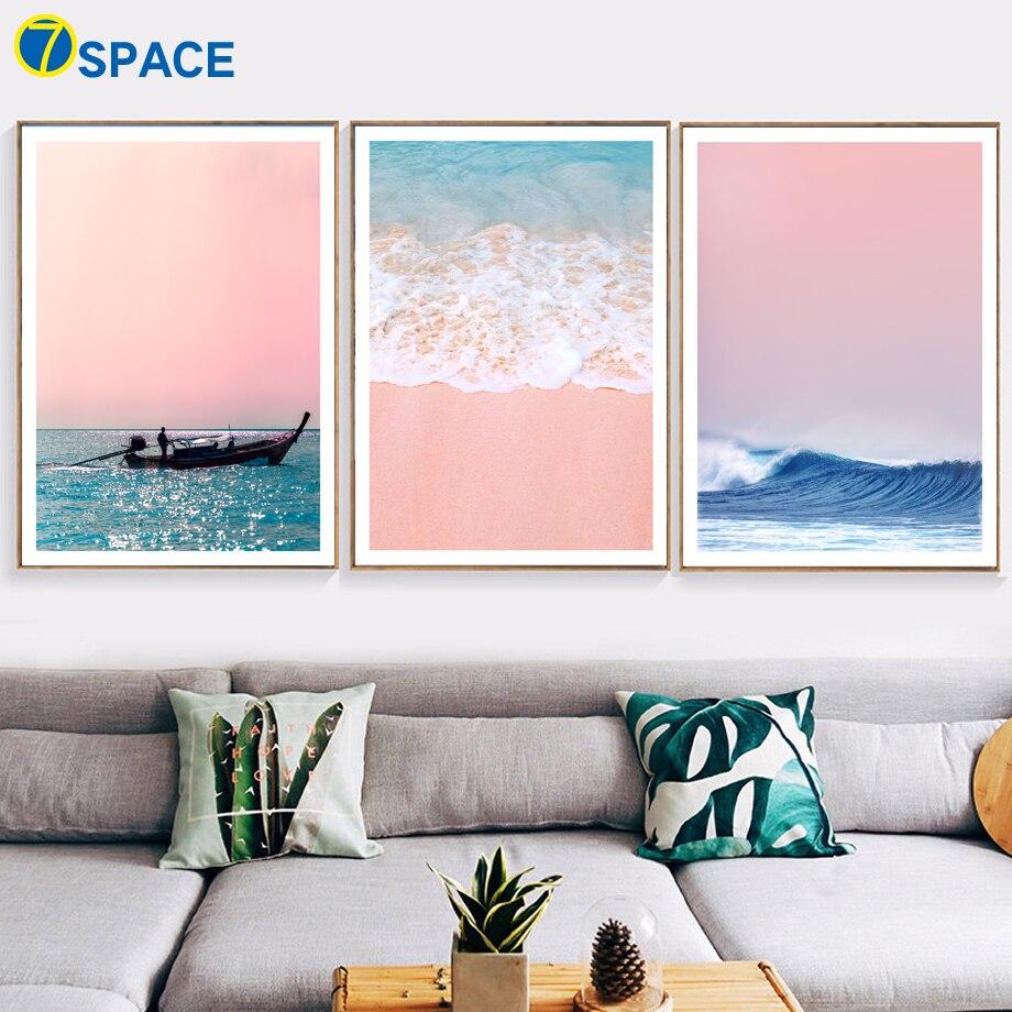 っ7 Space Strand Schiff Meer Poster Nordic Wand Deko Poster Und