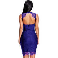 Lace Hollow Out Knee Length O Neck Backless Sleeveless Bandage Dress