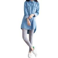 2017 Spring Summer Women Blouses Denim Blue Blouse Fashion Long Sleeve Shirts Wear Ladies Slim Vintage