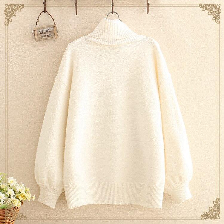 Kawaii Long Sleeve Turtleneck Milk Sweater 2