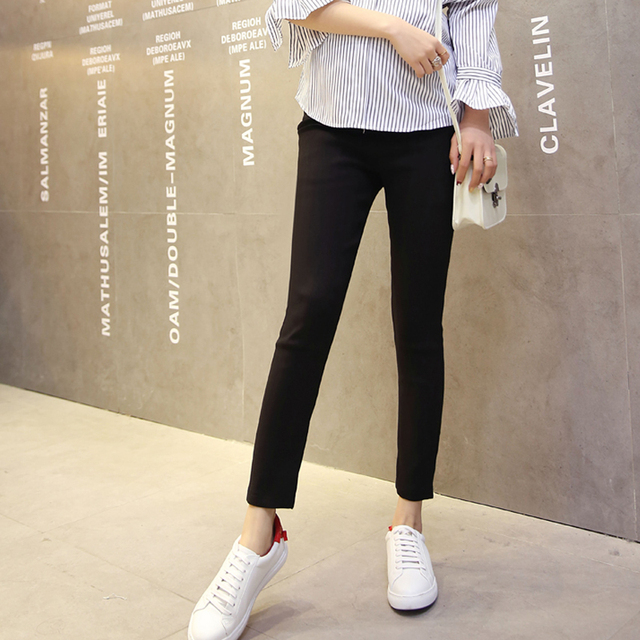 Black White Solid Color High Waist Maternity Pants Office Lady Elegant Trousers Pregnant Women Pencil