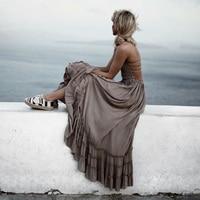 Sexy backless halter mixi ăn mặc Giản Dị ruffles cotton linen ăn mặc Boho vintage summer long nữ ăn mặc vestidos 2017