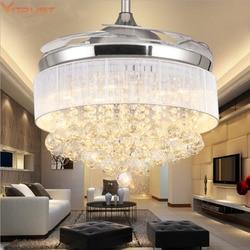 Nowoczesny sufit żyrandol z wentylatorem pilot kryształowe światła składane salon jadalnia sypialnia nowoczesny żyrandol z wentylatorem LED s 110V 220v w Wentylatory sufitowe od Lampy i oświetlenie na