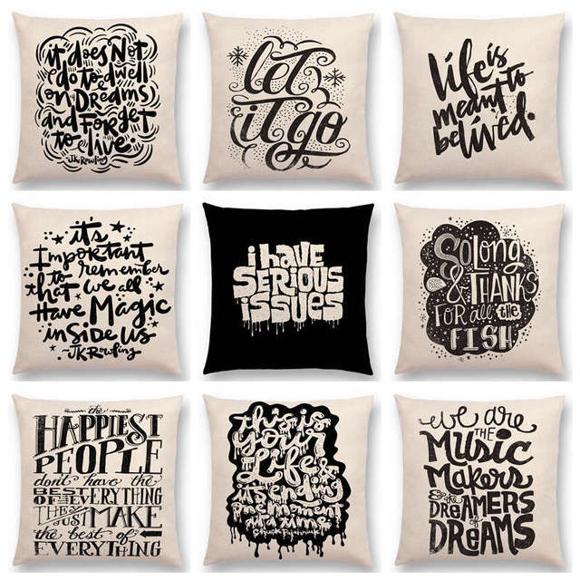 Black White Pattern Decorative Letters Fun Words Meaningful Saying Short Sentences Love Life Cushion Cover Sofa