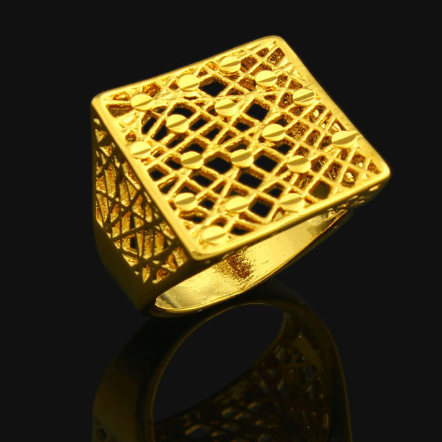 Dubai Ring For Women 24k Gold Color Ethiopian Wedding India African