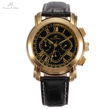 KS Date Day Calendar Case Dress Black Golden Stainless Steel Self Wind Automatic Mechanical Men s