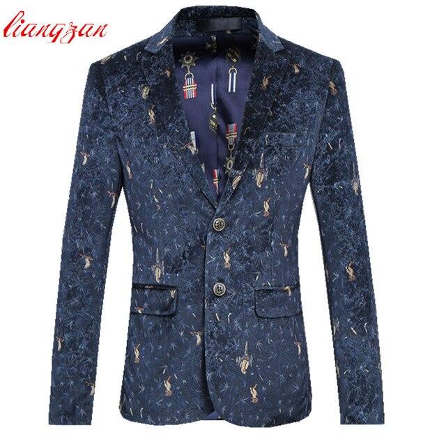 Men Business Printed  Blazer Jacket Brand Slim Fit Male Plus Size 6XL Velvet Cotton Wedding Casual Blazer Costume Homme F2348