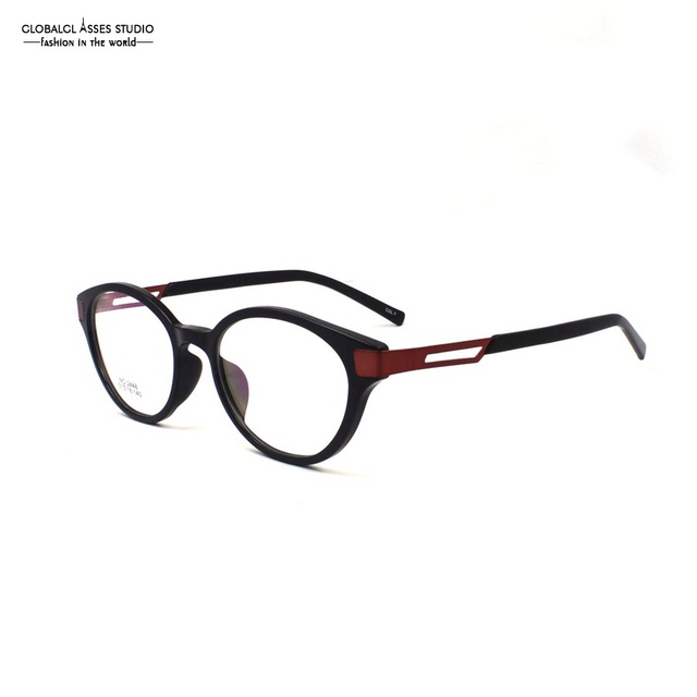 c75824367d2 Retro Round Acetate Glasses Frame Women Red Metal Hollow Temple Plastic Tip  Small Shape Patchwork Eyeglasses NO.2448 COL.7