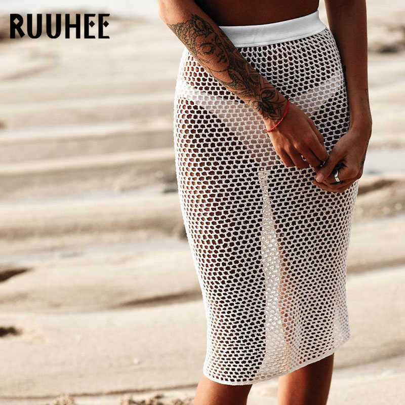 RUUHEE Sexy Mesh Strand Kleid Cover Up Bikini Cover Up Bademode Frauen Strand Tragen Badeanzug Cover Ups Bademode