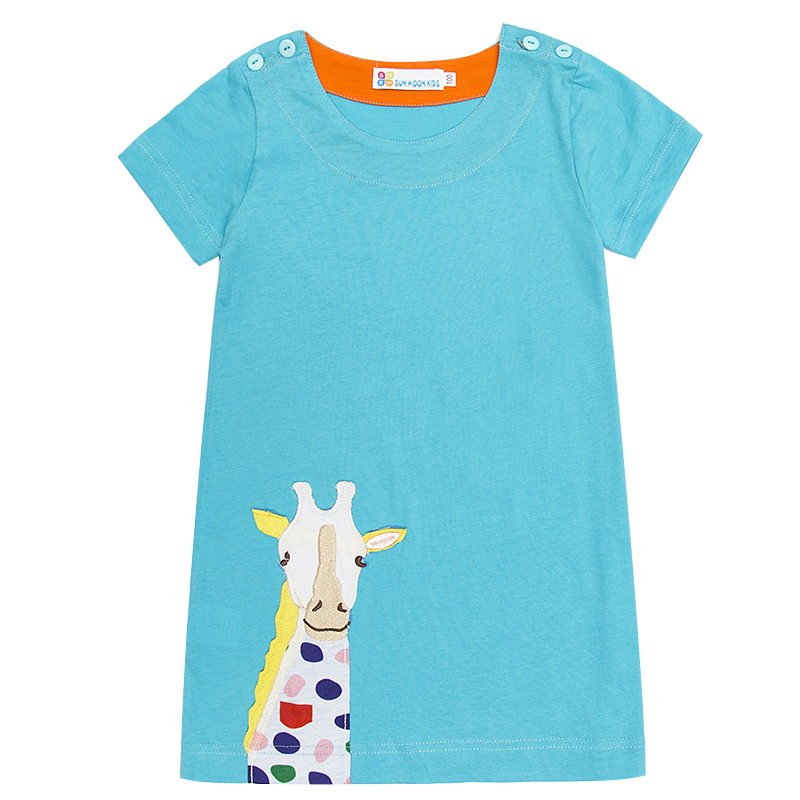 Baby Clothes Girl Dresses 2018 Cute Short Sleeve T Shirt Dress Toddler Costume With Animal Pattern Children Clothing 1-6Years