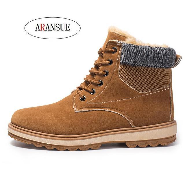 ARANSUE Hot 2018 autumn winter Warm high-top men's shoes Fashion plus velvet boots padded shoes for male