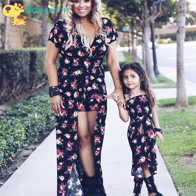 7f62cf737b54 Family Matching Outfits Mother and Daughter Vintage Floral Dresses Baby Girls  Dress Kids And Women Summer Dress Family Look