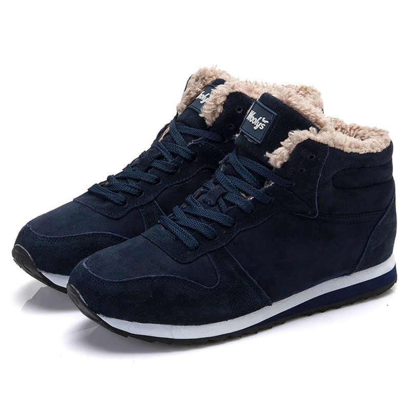 d9aa4ae66 Мужская зимняя обувь, большие размеры 46, мужские ботинки с мехом, черные  зимние кроссовки