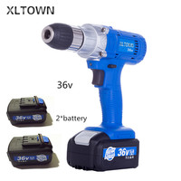 Xltown 36v high speed rechargeable lithium electric drill with 2 battery multi function electric screwdriver power tools