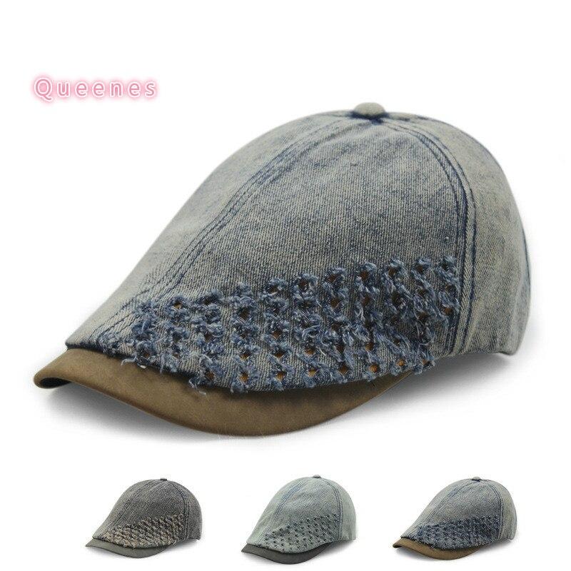 Vintage Korean Style SPring Men Beret Hat Summer Denim Jean Golf Beret Cap adjustable 55-56CM Sports Male Casquette Cap Chapeau