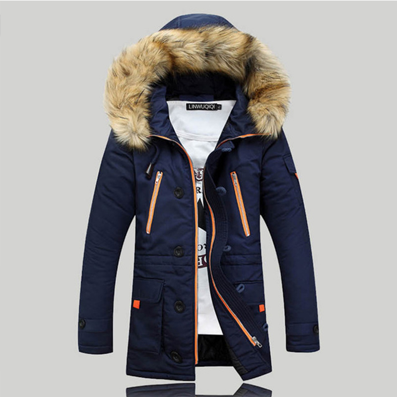 2016 New Fashion Fur Hooded Casual Slim Medium Long Windbreaker Men Winter Thick Cotton Large Big