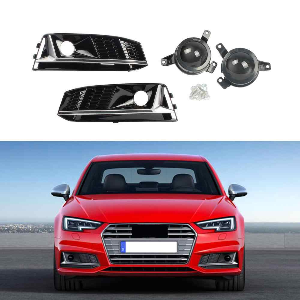 Chrome Honeycomb Black Front Left Right Bumper Lower Fog light Grille ACC Cover For AUDI A4 S-Line/S4 16-18 B9 8W