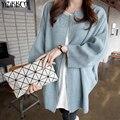 Yizikkco marca camisolas mulheres cardigans de malha outono inverno quente moda feminina com zíper zip senhoras longo-luva brasão mtq005