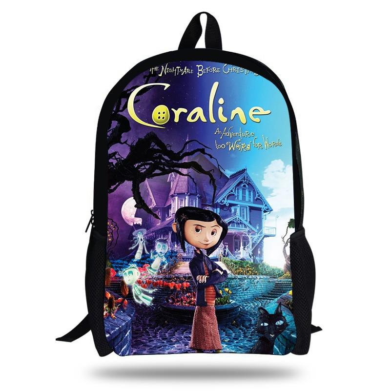 Anime Movie Coraline Printing School Bags For Teenage Girls Student Book Bag Primary Children Backpacks Mochila Infantil
