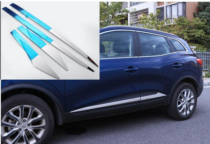 ACCESSORIES FIT FOR Renault Kadjar stainless steel DOOR SIDE LINE GARNISH BODY MOLDING COVER PROTECTOR TRIM 2016 2017 2018 accessories fit for 2013 2014 2015 2016 hyundai grand santa fe side door line garnish body molding trim cover