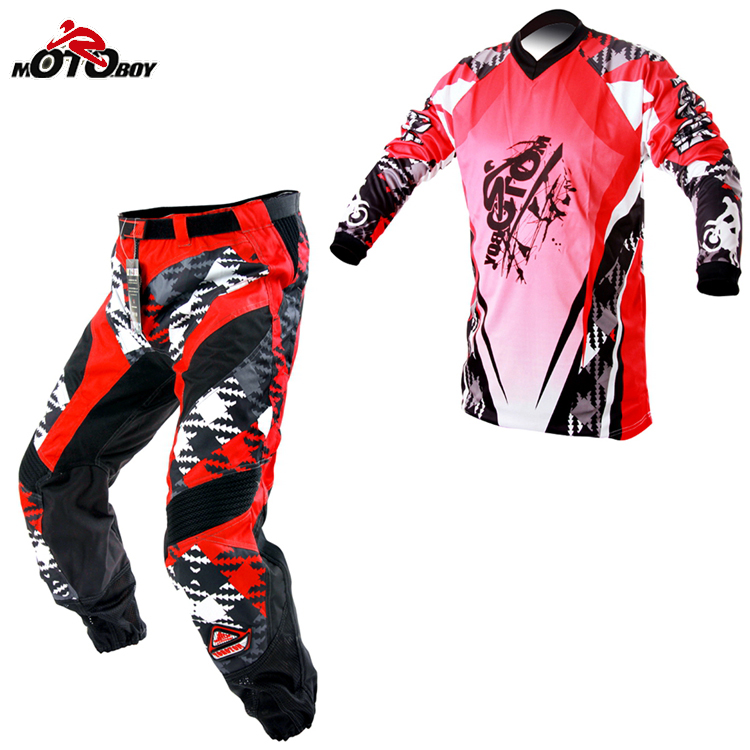 Customized 1 set Moto Protective Gear Men's motorcycle riding Ropa Motocross Pants and jersey male Clothing M, XXL  2017 motoboy motocross riding sports car split raincoat rain pants suit professional male motorcycle rain gear and equipment