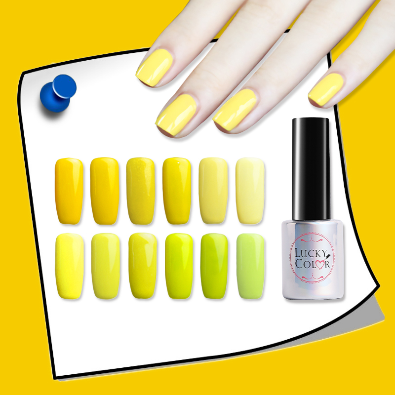 Light Yellow Gel Nail Lacquer High Quality Long-lasting Soak Off UV LED 10ML/Bottle 12 Colors