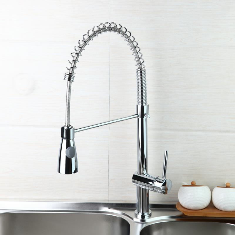 Good Quality Water Faucet Brass Chrome Polished Kitchen Faucet Swivel & Pull Down Spout Vessel Sink Mixer Tap free shipping high quality chrome brass kitchen faucet single handle sink mixer tap pull put sprayer swivel spout faucet