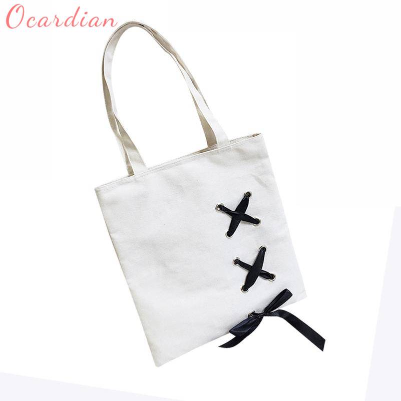 Women's Lace-Up Canvas Tote Single Wearable Shoulder Bags C0115