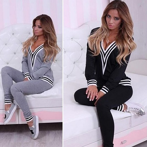Women Fashion V-neck Sweatshirt Set Top Pants Casual Sportsuit Tracksuit OutfitFemmes Camisa Chemise Camicia Mujer Clothes