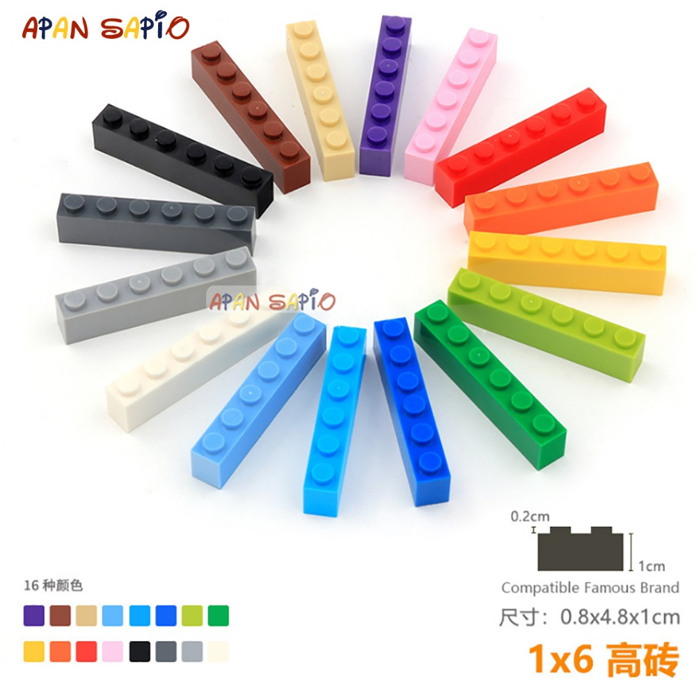 10pcs/lot DIY Blocks Building Bricks Thick 1X6 Educational Assemblage Construction Toys For Children Size Compatible With Lego