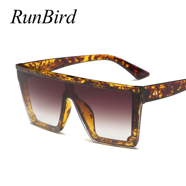 RunBird Brand Fashion Black One Piece Sunglasses Men Oversize Driving Cool Sun Glasses Square Male Oculos Gafas Eyewear 5121R